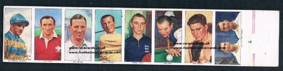 1955 uncut 8 British Automatic cards Henry Cotton Len Hutton Joe Davis Gordon Richards etc